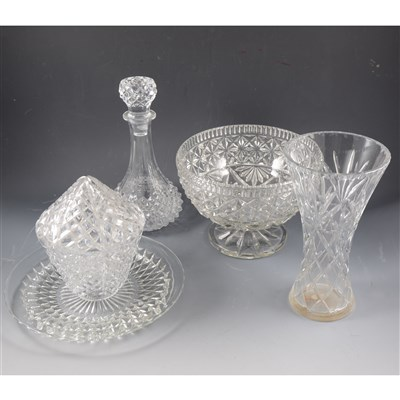 Lot 23-Cut glass table lamp, an oil lamp and other glassware.