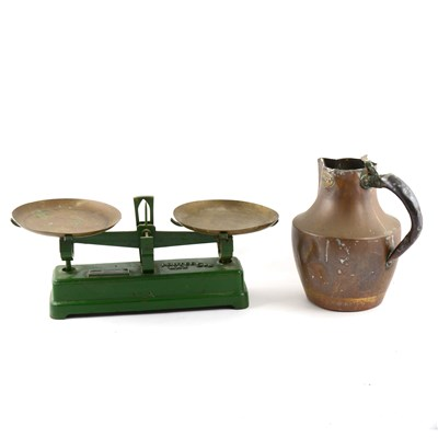 Lot 111-A set of French balance scales (no pans); saucepans, ewer, etc.
