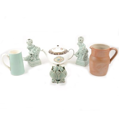 Lot 10-A Royal Worcester Evesham Ware biscuit jar, six Waterford crystal glasses, and other assorted ceramics.