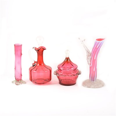 Lot 27-Nailsea type festooned glass flask, and other cranberry glass.