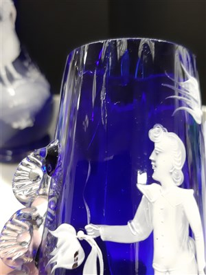 Lot 44-A small collection of 'Mary Gregory' style coloured glassware