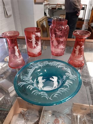 Lot 13-A small collection of 'Mary Gregory' style coloured glassware