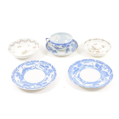 Lot 11-A late Chinese blue and white cup and saucer, and a collection of English porcelain saucers