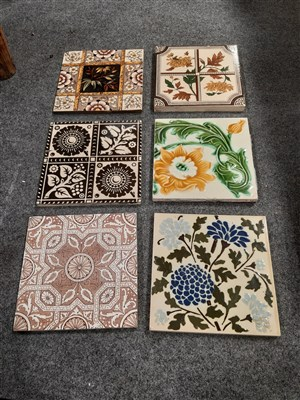 Lot 53-A collection of Victorian and later decorative ceramic tiles