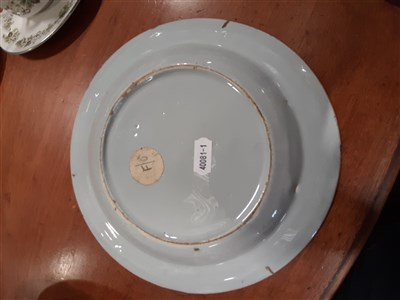 Lot 57-Near pair of Dutch Delft plates, 18th Century, and three other Delft plates