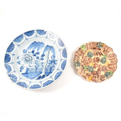 Lot 7-Whieldon type creamware plate, mid 18th Century, and a Delft dish