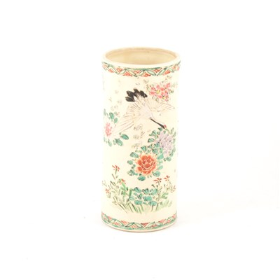 Lot 10-Satsuma cylindrical vase