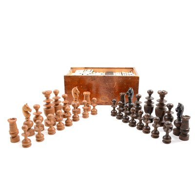 Lot 69-Matched set of boxwood 'St George' style chess pieces , two sets of dominoes and folding chequer-board.
