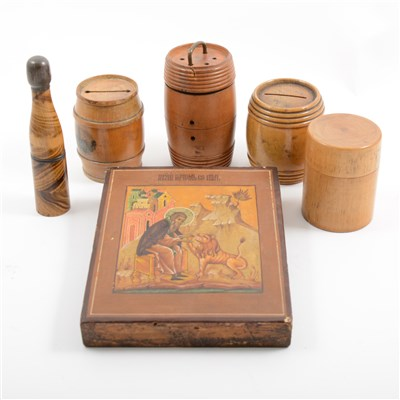 Lot 67-Miscellaneous treen barrels., leather travelling jewel case, an icon showing Saint Jerome, etc