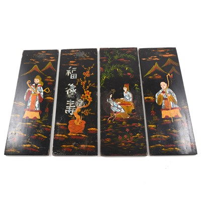 Lot 92-Set of four Far Eastern lacquered panels