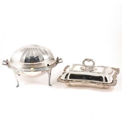 Lot 89-An Edwardian electroplated revolving breakfast dish, and pair of entree dishes.