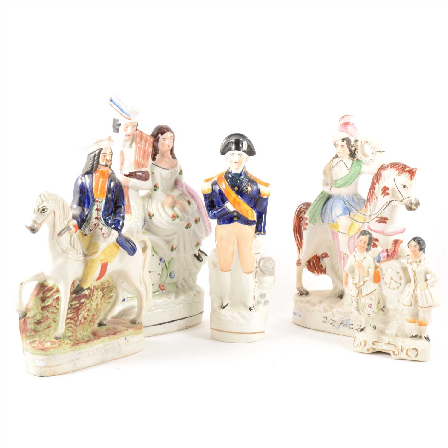 Lot 54-A Staffordshire equestrian figure, Prince of Wales, and a collection of other figures and groups.
