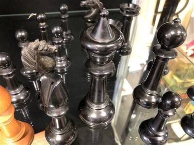Lot 363-Staunton pattern boxwood and ebony chess set, W Leuchars, Piccadilly, London