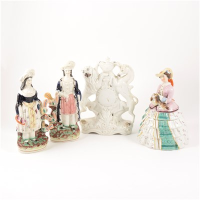 Lot 7-A Staffordshire group, Queen Victoria and Baby, 20cm; and six other figures.