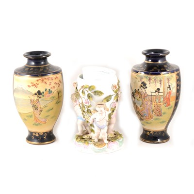 Lot 73-A Sitzendorf porcelain vase, and a pair of Satsuma vases.