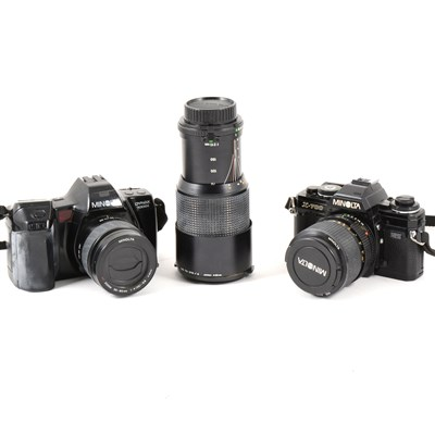 Lot 96-Minolta Dynax 70001 SLR camera, other cameras and lenses.
