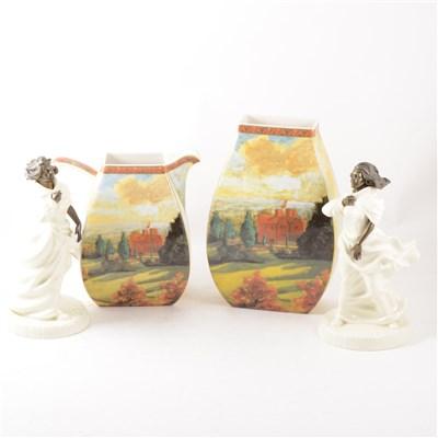 Lot 16-Two Minton Sea Breezes figures, Border Fine Art vases after Churchill, etc.
