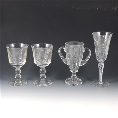 Lot 61-Stuart Crystal Silver Jubilee commemorative goblet, 1977, and other commemorative glass.