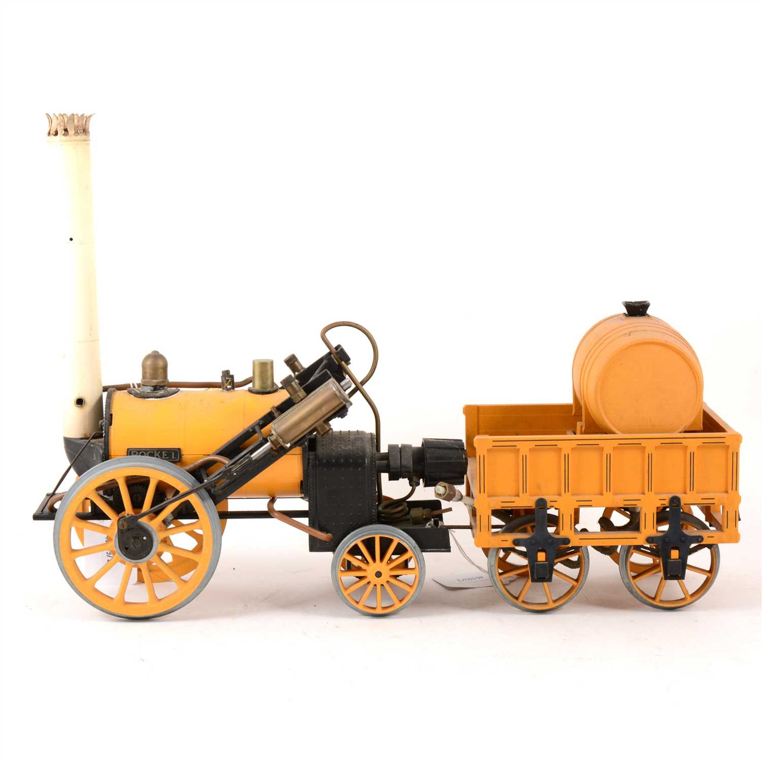 """Lot 48-Hornby live steam model of Stephenson's """"Rocket"""" with wagon"""