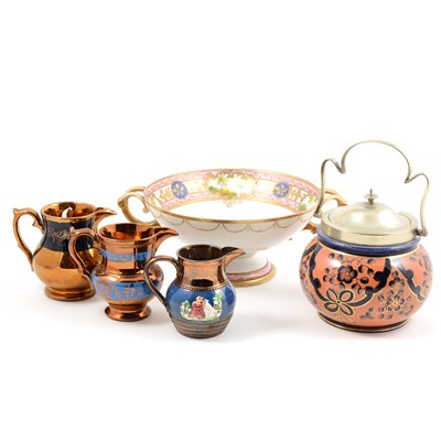 Lot 24-Noritake comport; Staffordshire biscuit barrel; pair of Staffordshire models of King Charles Spaniels; and a collection of copper lustre jugs.