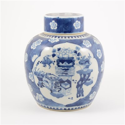 Lot 6-Chinese blue and white ginger jar, 20th Century