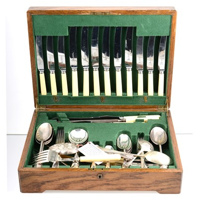 Lot 61-A silver plated canteen of cutlery by Atkin Brothers, rattail pattern, 6 place settings, in oak case, and another by Walker & Hall, rattail pattern, 6 place settings, almost complete, in dark oak case