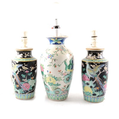 Lot 70-Pair of Chinese Famille Noir shouldered vases