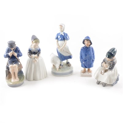 Lot 33-Royal Copenhagen, figure of a boy in a raincoat no. 532, 18cm; similar figure, no. 3556; together with a collection of Royal Copenhagen and Bring & Grondahl figures, animal models, etc.