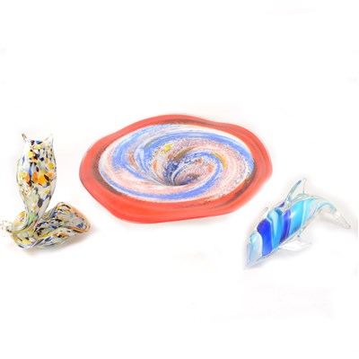 Lot 26-A large art glass circular pedestal dish 38cm diameter,   Murano style glass fish, and a dolphin, (3)