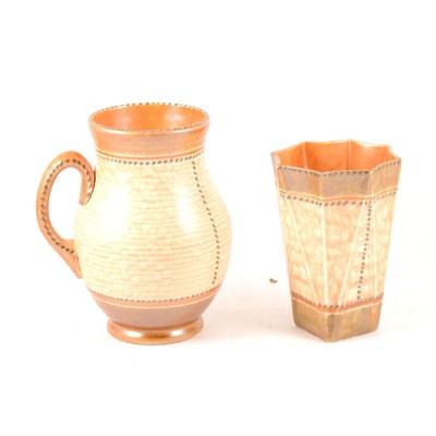Lot 38-A Crown Ducal stitch design vase, autumn colours, and a similar jug.