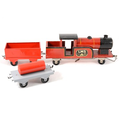 Lot 57-Tri-ang Toys; wooden and tin-plate pull-a-long steam train 'LMS'