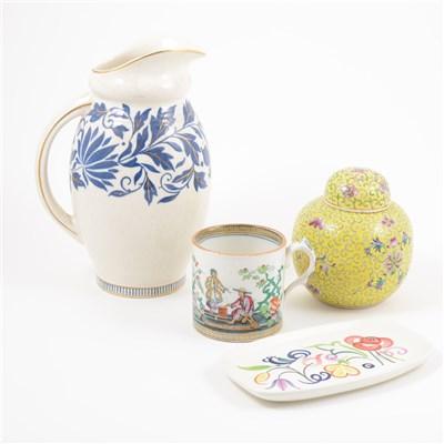 Lot 14-Various ceramics, modern ginger jars, blue and white transfer ware etc