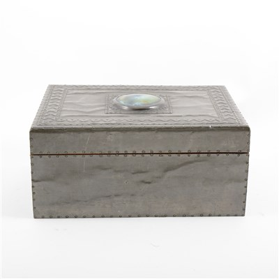 Lot 59-An Arts & Crafts style cigar box with Ruskin style roundel