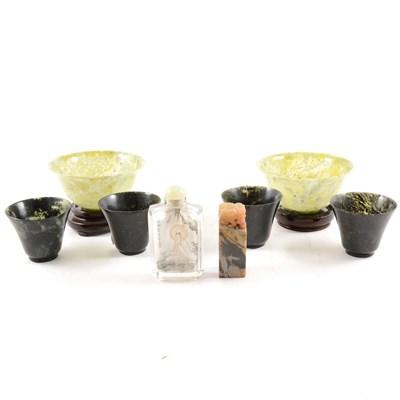Lot 3-Pair of Chinese variegated jade tea bowls, etc.