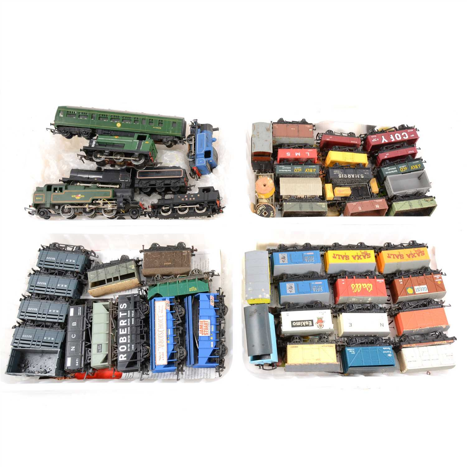 Lot 10-OO gauge model railways; a collection of locomotives and rolling-stock, eleven trays.