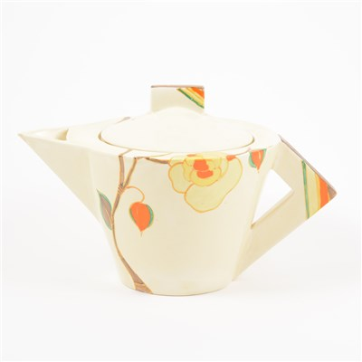 Lot 3-Clarice Cliff, Yellow Rose design, a conical shape tea pot