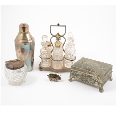 Lot 12-A quantity of silver and silver-plated items, including a silver pig pin cushion (a/f)