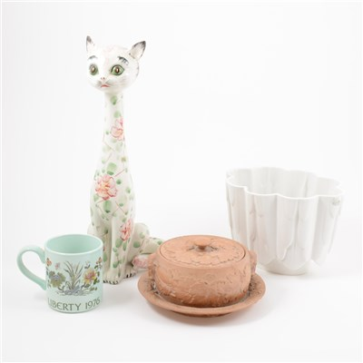 Lot 22-Three boxes of ceramics and glass ware, including decanters, jelly moulds, Staffordshire dogs, tea ware, etc