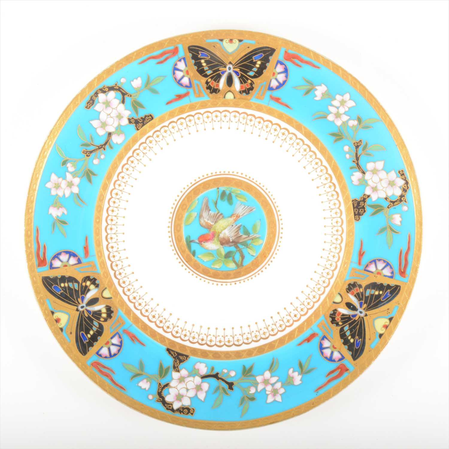 7 - An Aesthetic Movement cabinet plate, attributed to Christopher Dresser for Minton, 1876