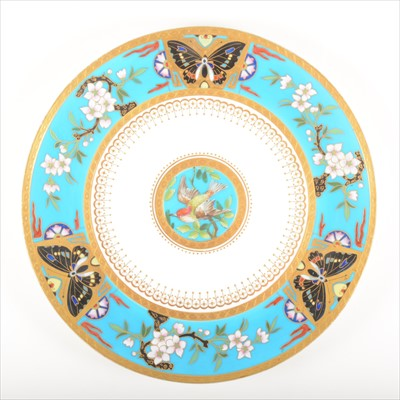 Lot 7-An Aesthetic Movement cabinet plate, attributed to Christopher Dresser for Minton, 1876