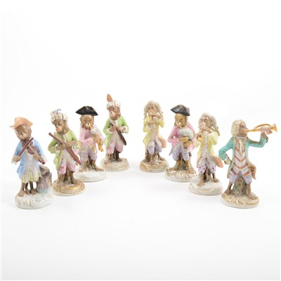Lot 31-Eight Dresden monkey band figures, early 20th Century