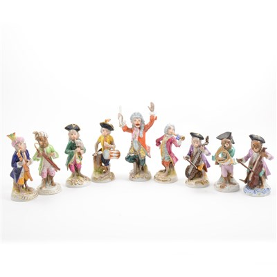 Lot 49-AMENDMENT - (This is now the correct image) Nine Continental porcelain Monkey Orchestra figures, 20th Century