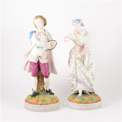 Lot 15-Pair of French painted parian figures, ...