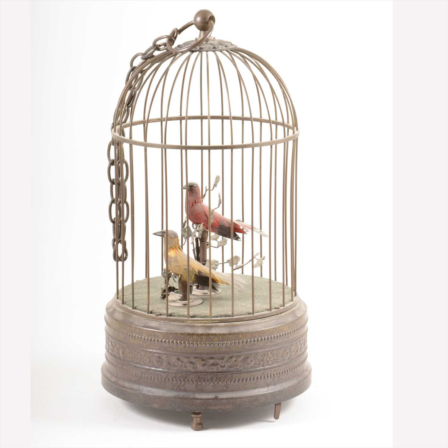 Lot 541-Singing birds in a cage automaton, late 20th century