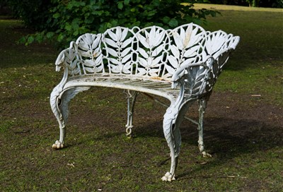 Lot 536 - A Victorian painted cast iron Laurel pattern garden bench, Coalbrookdale, last quarter 19th century