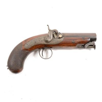 142 - Percussion pistol by W J Rigby, Dublin