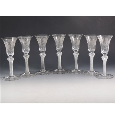 Lot 1-Seven Jacobite style wine glasses