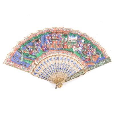 Lot 61-Cantonese white and gilt metal fan, mid 19th century