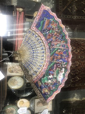 Lot 61 - Cantonese white and gilt metal fan, mid 19th century