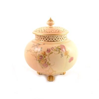 Lot 51-Royal Worcester pot pourri vase, date mark 1904, ...